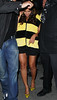 "Non-Exclusive<br /> 2011 Oct 31 - Beyonce is dressed up as a bumble ""bee"" when coming out of the Darby restaurant in NYC with her bodyguards all over her. Photo Credit Jackson Lee"