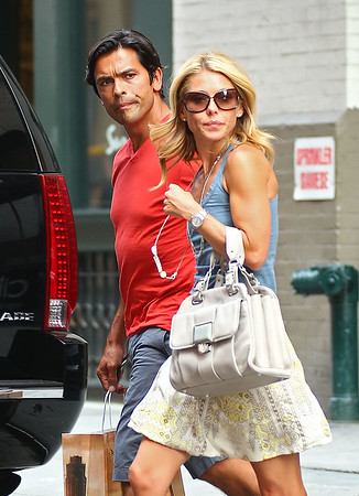 4 Aug 2009 - Kelly Ripa and Mark Consuelos out and about in NYC with their kids. Photo Credit Jackson Lee