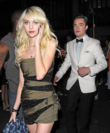 6 Aug 2009 - Ed Westwick and Taylor Momsen outside of the Gossip Girl set in NYC. Photo Credit Jackson Lee