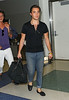 10 Aug 2009 - Ed Westwick arrives at JFK airport from LAX after attending the Teen Choice Awards with a cryptic message writting on his arm inscribed 'i heart romance'. Photo Credit Jackson Lee