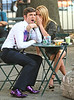 3 Sept 2009 - Michael Urie and Beckie Newton give each other rabbit ears on the set of 'Ugly Betty' in NYC.  Photo Credit Jackson Lee