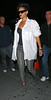 20 Sept 2009 - Rihanna heads out to 40/40 club on a Saturday night wearing a sheer bustier under a white shirt and grey leggings in NYC. Photo Credit Jackson Lee