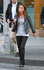 26 Sept 2009 - Queen Rania of Jordan takes a power walk with earphones on outside of Central Park in NYC.  Photo Credit Jackson Lee