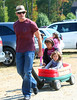 28 Sept 2009 - Hugh Jackman takes kids Ava Eliot and Oscar on a wagon ride and holds a pair of 'My Little Ponies' at Silverman's Country Farm in Easton, Ct.  Photo Credit Jackson Lee