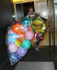 16 Oct 2009 - EXCLUSIVE: John Mayer gets 32 balloons plus a saxophone and guitar-shaped ballons, then goes out for dinner with friends and his brother, also posed with a fan for his 32nd birthday in NYC. Photo Credit Jackson Lee