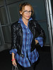 EXCLUSIVE<br /> 28 Oct 2009 - Kylie Minogue arrives to NYC looking happy in plaid. Photo Credit Jackson Lee