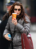 14 Dec 2009 - Brooke Shields picks at her teeth while walking around with coffee in hand in NYC.  Photo Credit Jackson Lee