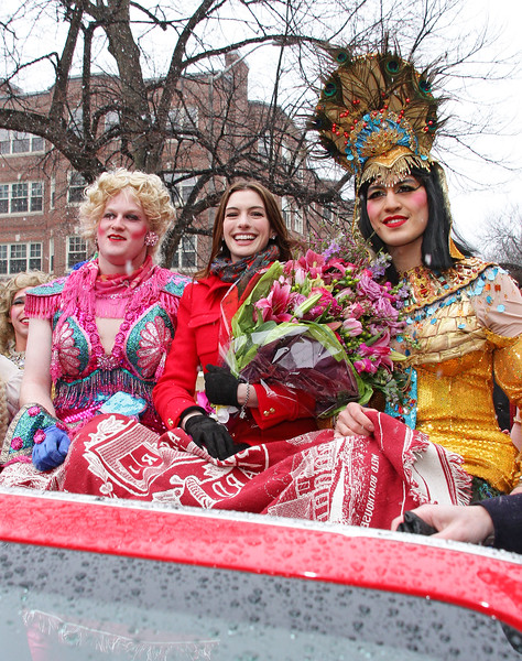 28 Jan 2010 - Anne Hathaway accepts her award as Woman of the Year at Harvard's Hasty Pudding event in Cambridge, Mass.  Photo Credit Jackson Lee