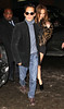 25 Feb 2010 - Jennifer Lopez is all smiles while she hangs onto Marc Anthony as they exit STK after attending Saturday Night Live afterparty there.  Photo Credit Jackson Lee