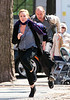 1 Apr 2010 - Bradley Cooper and Abbie Cornish film a scene on location for 'Dark Fields' in NYC.  Photo Credit Jackson Lee