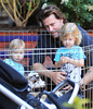 4 Apr 2010 - Tori Spelling and Dean McDermott take their kids Stella and Liam to a petting zoo with rabbits and goats, play ping pong wtih Betsy Johnson, eat ice cream, and have brunch with Jonathan Cheban and Simon Huck on Easter Sunday in NYC.  Photo Credit Jackson Lee