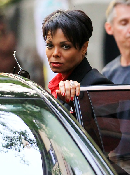 4 June 2010 - Janet Jackson gives a pensive look on the set of 'For Colored Girls who have considered suicide when the rainbow is enuf' in Harlem, NYC.  Photo Credit Jackson Lee