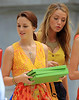 2010 Aug 17 - Leighton Meester, Blake Lively on the set of 'Gossip Girl' in NYC.  Photo credit Jackson Lee