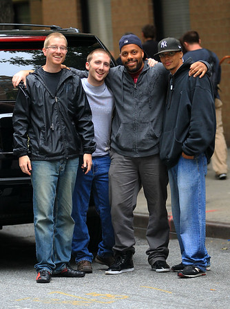 2010 Oct 6 - Kardashian Film Crew poses for a pic in NYC. Photo Credit Jackson Lee