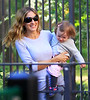 2010 Oct 10 - Sarah Jessica Parker and Matthew Broderick are all smiles as they take twins Marion Broderick and Tabitha Broderick out to the park in sunny NYC.  Photo credit Jackson Lee
