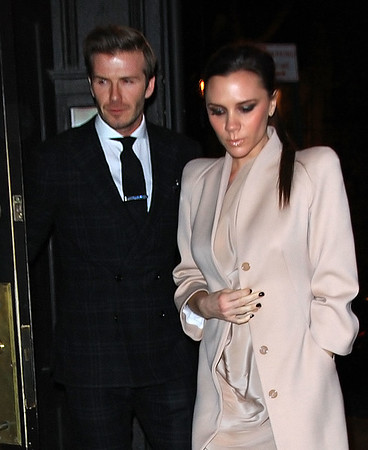 2011 Feb 14 - David Beckham and Victoria Beckham (showing baby bump) have a romantic dinner date at Minetta Tavern on Valentine's Day in NYC. Photo Credit Jackson Lee