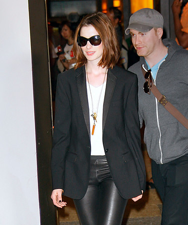 17 June 2008 - New York, NY - Anne Hathaway and Brittany Snow depart MTV TRL.  Photo Credit Jackson Lee