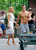 27 June 2008 - New York, NY - Kim Raver and a shirtless Robert Buckley films Lipstick Jungle at a park in NYC.  Photo Credit Jackson Lee