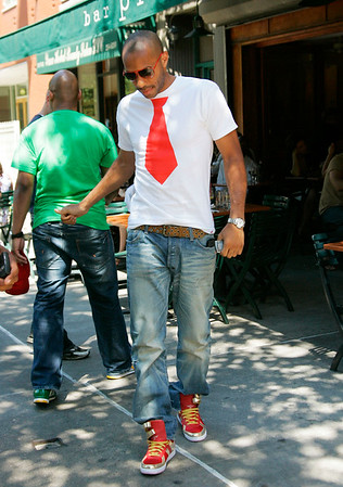 2 July 2008 - New York, NY - Thierry Daniel Henry, striker for French National Soccer team and FC Barcelona,out for lunch at Bar Pitti in NYC.  Photo Credit Jackson Lee
