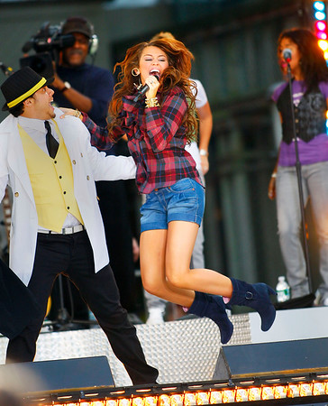 18 July 2008 - New York, NY - Miley Cyrus performs for ABC's 'Good Morning America' at Bryant Park.  Photo Credit Jackson Lee