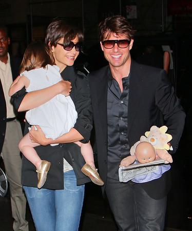 15 August 2008 - New York, NY - Tom Cruise, Katie Holmes, and Suri Cruise have a family dinner at Nobu.   Photo Credit Jackson Lee
