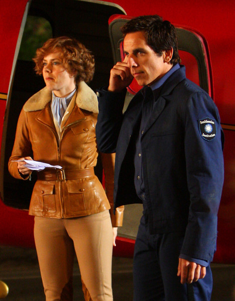 18 August 2008 - New York, NY - Ben Stiller and Amy Adams, channeling Amelia Earhart, kissed each other  on the set of 'Night at the Museum 2'.   Photo Credit Jackson Lee
