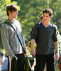 22 August 2008 - New York, NY - Chace Crawford and Penn Badgley on location in Central Park for 'Gossip Girl'.   Photo Credit Jackson Lee