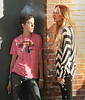 4 September 2008 - Lindsay Lohan hangs with galpal Samantha Ronson during breaks in filming 'Ugly Betty'.   Photo Credit Jackson Lee/Tom Meinelt