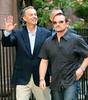 21 September 2008 - Tony Blair and Bono walk to church together in NYC.  Photo Credit Jackson Lee/Tom Meinelt