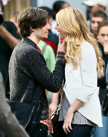 30 September 2008 - Blake Lively kisses her new love interest on the set of 'Gossip Girl'.   Photo Credit Jackson Lee