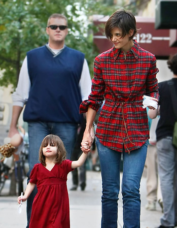 14 October 2008 - Katie Holmes and Suri Cruise go for some ice cream in NYC before her evening performance.  Photo Credit Jackson Lee