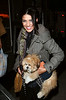 24 October 2008 - Jessica Szohr walks her dog on the streets of Brooklyn, NYC.   Photo Credit Jackson Lee