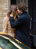 28 October 2008 - Keira Knightley kisses Guillaume Canet on the set of 'Last Night' in NYC.   Photo Credit Jackson Lee