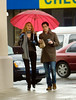 29 October 2008 - Blake Lively and Penn Badgley get their umbrella turned inside out in the bitter cold and wind on the set of 'Gossip Girl'.   Photo Credit Jackson Lee