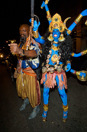31 October 2008 - Heidi Klum and Seal arrive at Heidi's Halloween Party dressed as a Hindu deity and Genghis Khan at 1 Oak, NYC.   Photo Credit Jackson Lee