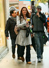 6 November 2008 - Brooke Shields out and about in the rain with a huge umbrella.   Photo Credit FZS/SIPA