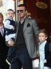 28 November 2008 - David Beckham, Victoria Beckham, and sons Brooklyn, Romeo, and Cruz depart Serafina after having lunch with Tom Cruise's family there.  Photo Credit Jackson Lee