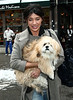 19 January 2009 - Jessica Szohr and her shih-tzu smile for the camera on the set of 'Gossip Girl' in NYC. Photo Credit Jackson Lee