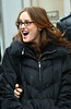 19 January 2009 - Leighton Meester sports new glasses on the set of 'Gossip Girl'. Photo Credit Jackson Lee