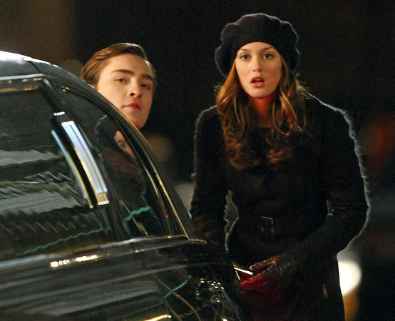 25 February 2009 - Ed Westwick and Leighton Meester on the set of 'Gossip Girl' in NYC. Photo Credit Jackson Lee