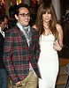 1 April 2009 - Marc Anthony and Jennifer Lopez are all smiles as they go shopping at Kate Moss' new store 'Top Shop' in Soho, NYC. Photo Credit Jackson Lee