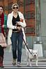 5 April 2009 - Kristen Johnson walks her dog Pinky in the West Village, NYC . Photo Credit Jackson Lee