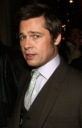 30 April 2009 - Brad Pitt films a Japanese commercial with a sumo wrestler in NYC. Photo Credit Jackson Lee