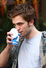 15 June 2009 - Robert Pattinson gets mobbed by crazy fangirls on the set of 'Remember me' in NYC.  Photo Credit Jackson Lee
