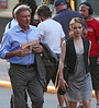 12 July 2009 - Harrison Ford and Rachel McAdams run around together on the set of 'Morning Glory' just as the sun was setting in Midtown, NYC. Photo Credit Jackson Lee