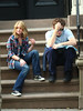 14 July 2009 - Robert Pattinson and Emilie de Ravin on the set of 'Remember Me' in NYC.  Photo Credit Jackson Lee