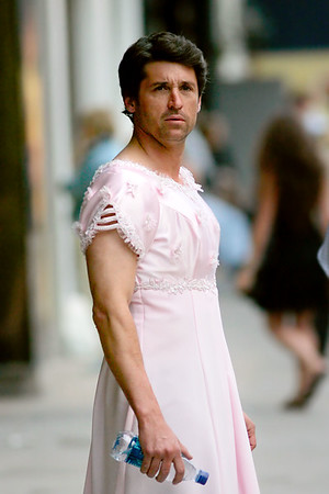 10 June 2007 - New York, NY - Patrick Dempsey wears a wedding dress while filming 'Made of Honor' in lower Manhattan.  Photo Credit Jackson Lee