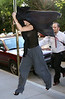 *** EXCLUSIVE ***<br /> 24 June 2007 - New York, NY - Demi Moore bears her nipple while walking in a sheer shirt and sweatpants in NYC.  Ashton tries to harass us and block our photos but it was too late.  Photo Credit Jackson Lee/Ahmad Elatab
