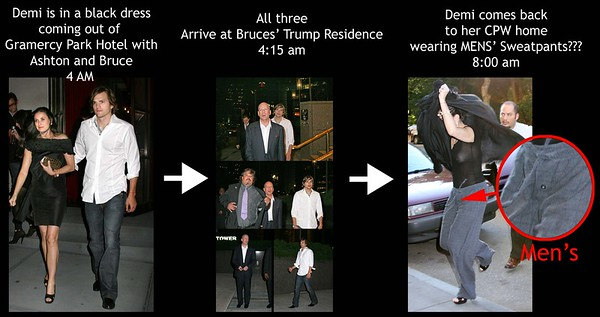 23 June 2007 - New York, NY - On the morning after attending afterparties for Demi Moore is seen wearing MEN'S SWEATPANTS coming out of Bruce Willis' Trump Residence back to her home after partying hard all night with him and Ashton.  She had on a black dress coming out of an afterparty heading to Bruce's home but later comes out wearing a sheer black top and men's sweatpants!  Photo Credit Jackson Lee