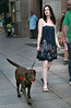 27 July 2007 - New York, NY - Anne Hathaway walks her dog wearing the same dress that she went to dinner with the night before (please see AENY LJNY 260707 B).  Photo Credit Jackson Lee